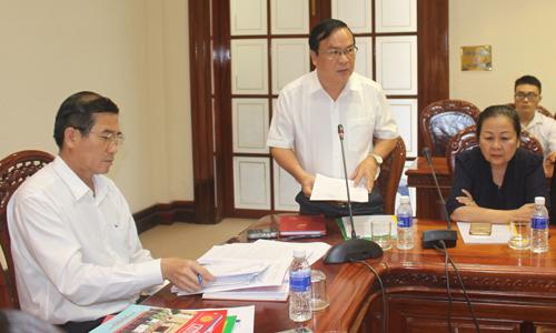 Phó Chủ tịch UBND tỉnh Phạm Anh Tuấn phát biểu ý kiến tại buổi làm việc.