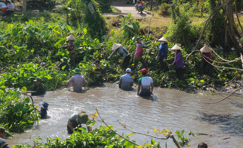 Trục vớt lục bình nhằm khai thông dòng chảy, phục vụ sản xuất và sinh hoạt.                 Ảnh: VĂN THẢO