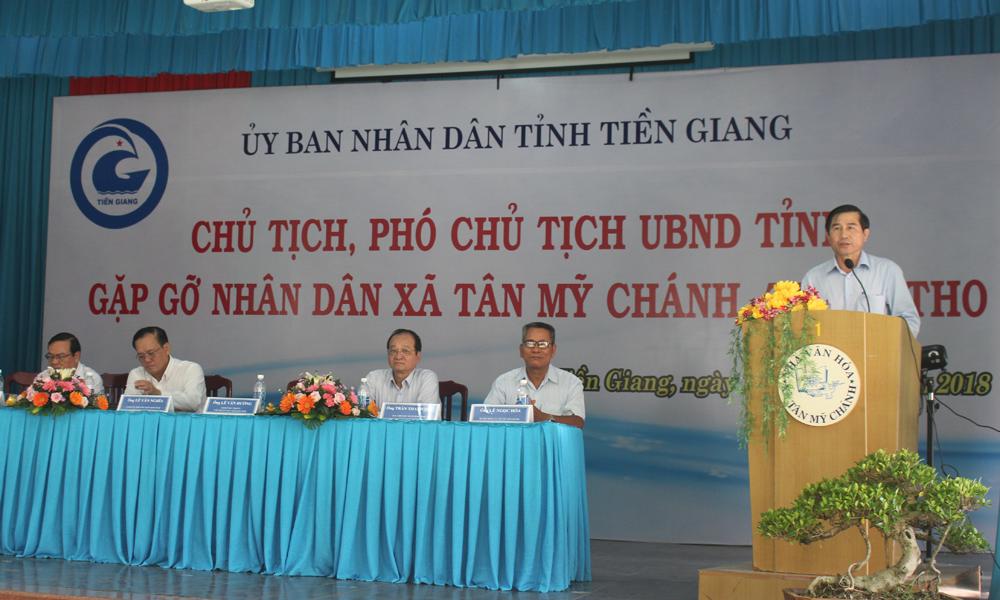 Chủ tịch UBND tỉnh Lê Văn Hưởng phát biểu tại buổi học tập, chia sẻ kinh nghiệm trong xây dựng NTM.