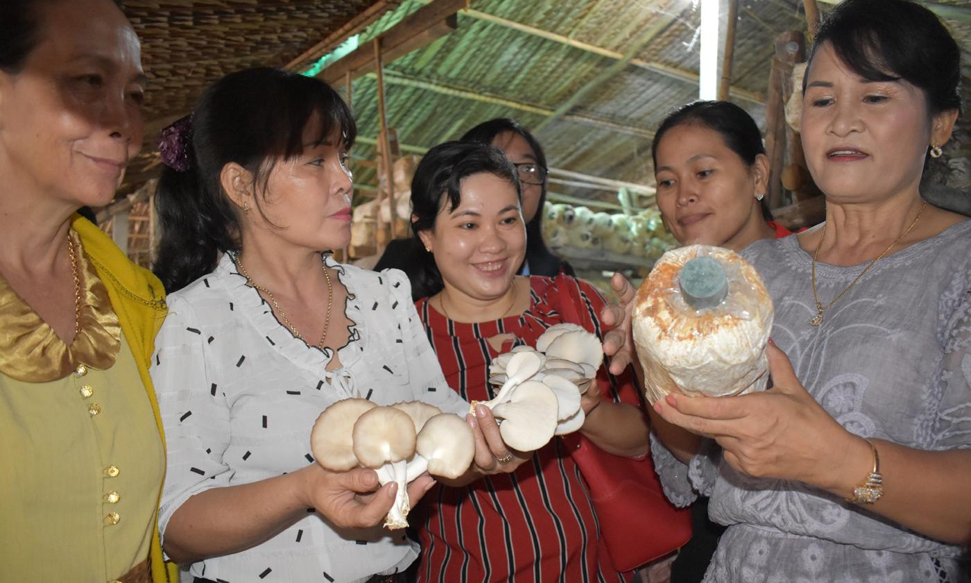 Chị ĐồngThị Thu Hoài, Giám đốcHTX Trường Phát hướng dẫn trồng nấm bào ngư