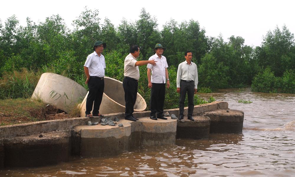 Đoàn công tác kiểm tra chặt chẽ công tác ứng phó với cơn bão số 9 của huyện Tân Phú Đông.