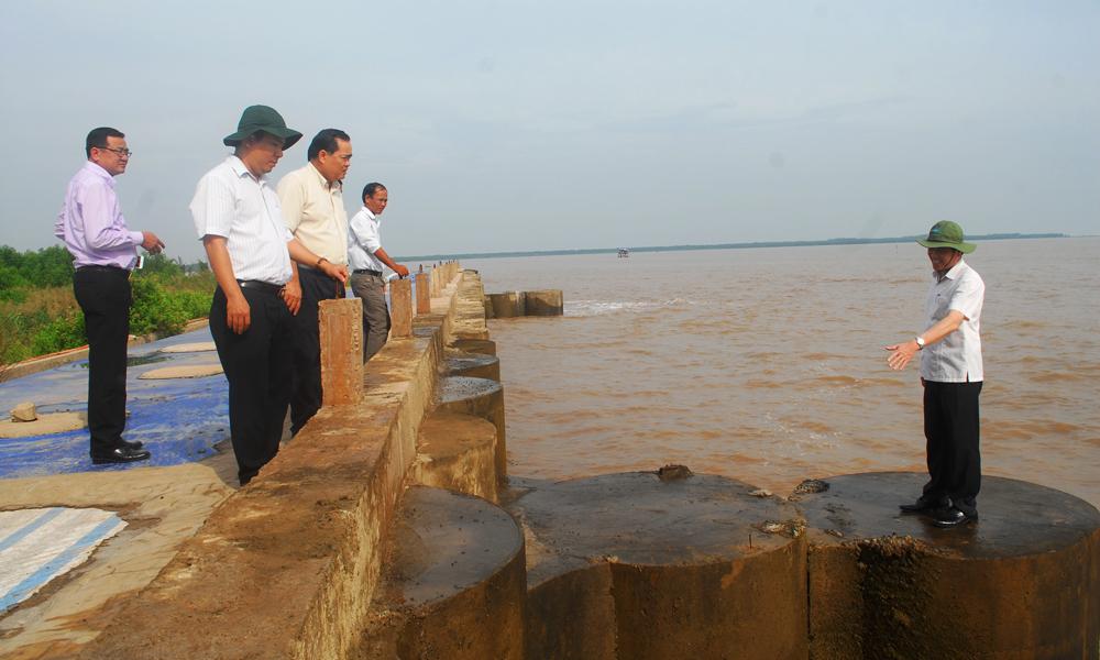 Đoàn công tác kiểm tra tuyến đê ven biển thuộc xã Phú Tân (huyện Tân Phú Đông).