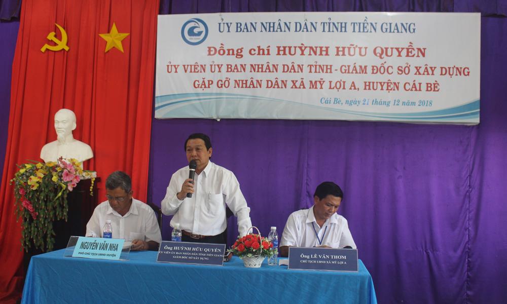 Giám đốc Sở Xây dựng Huỳnh Hữu Quyền phát biểu tại buổi gặp gỡ.