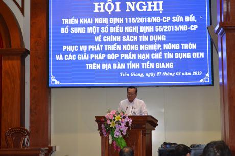 Phó Chủ tịch UBND tỉnh Lê Văn Nghĩa phát biểu chỉ đạo hội nghị.