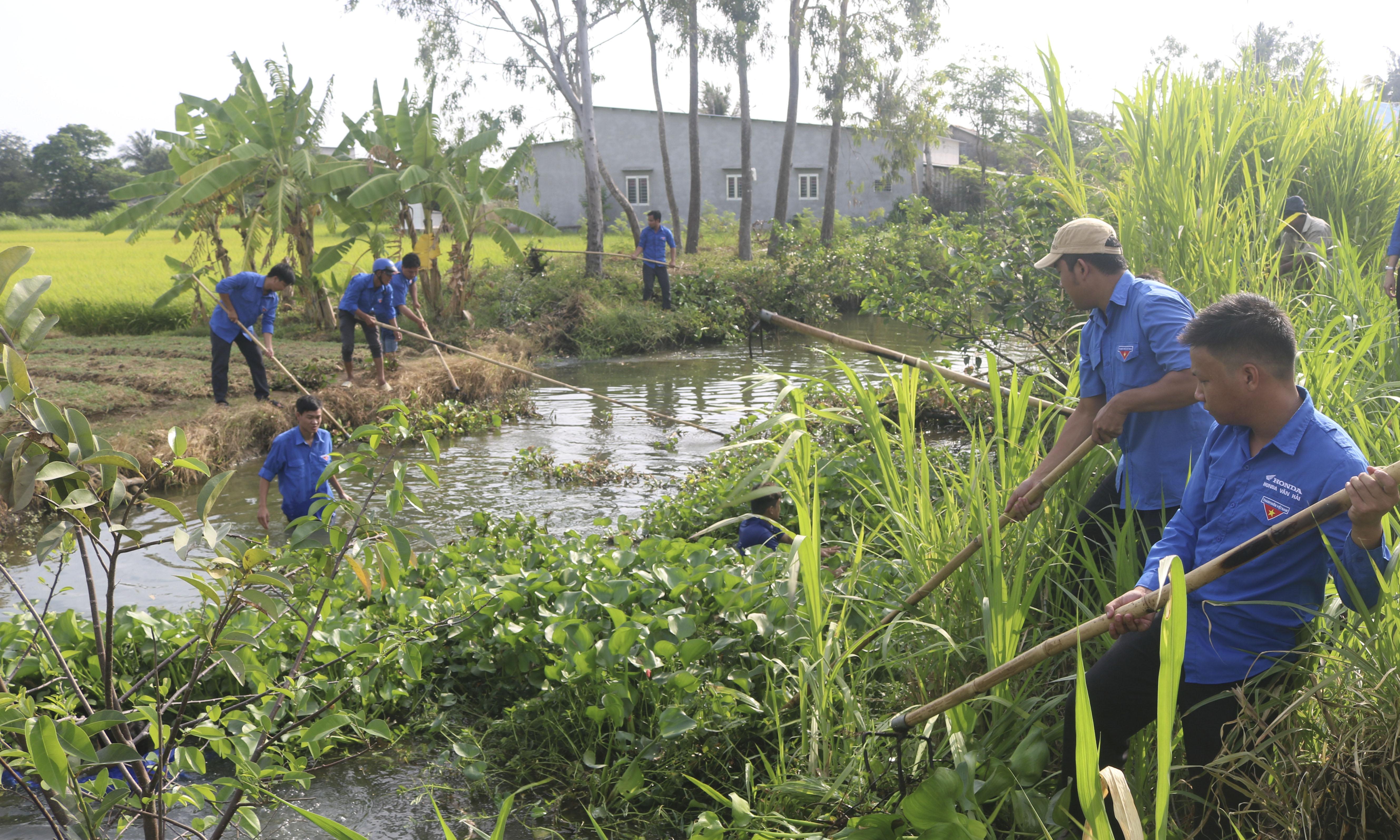 """xã Yên Luông ra quân thực hiện công trình thanh niên """"Vì môi trường sống an toàn"""" trục vớt lục bình và cỏ dại tại tuyến kênh xã Yên Luông, huyện Gò Công Tây"""