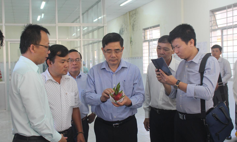 Phó Trưởng Ban Kinh tế Trung ương Cao Đức Phát (thứ tư từ trái sang) thăm HTX Mỹ Tịnh An. Ảnh: MINH THÀNH