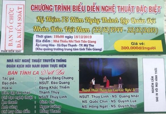 Chương trình nghệ thuật của Nhà hát truyền thống và đoàn kịch nói Nam Định không được cho phép nhưng vẫn ngang nhiên bán vé - Ảnh: Thanh Anh