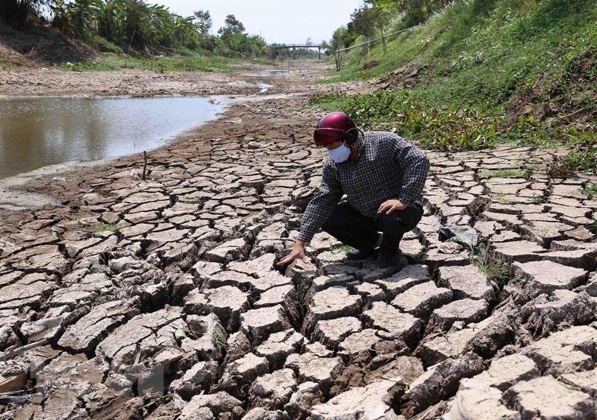 Hệ thống kênh, mương chính dẫn nước phục vụ sản xuất ở xã Long Hòa, thị xã Gò Công bị khô hạn nứt nẻ từ nhiều ngày nay. (Ảnh: Vũ Sinh/TTXVN)