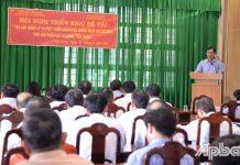 , Phó Chủ tịch UBND huyện Gò Công Tây Nguyễn Thanh Tuấn phát biểu tại hội nghị.