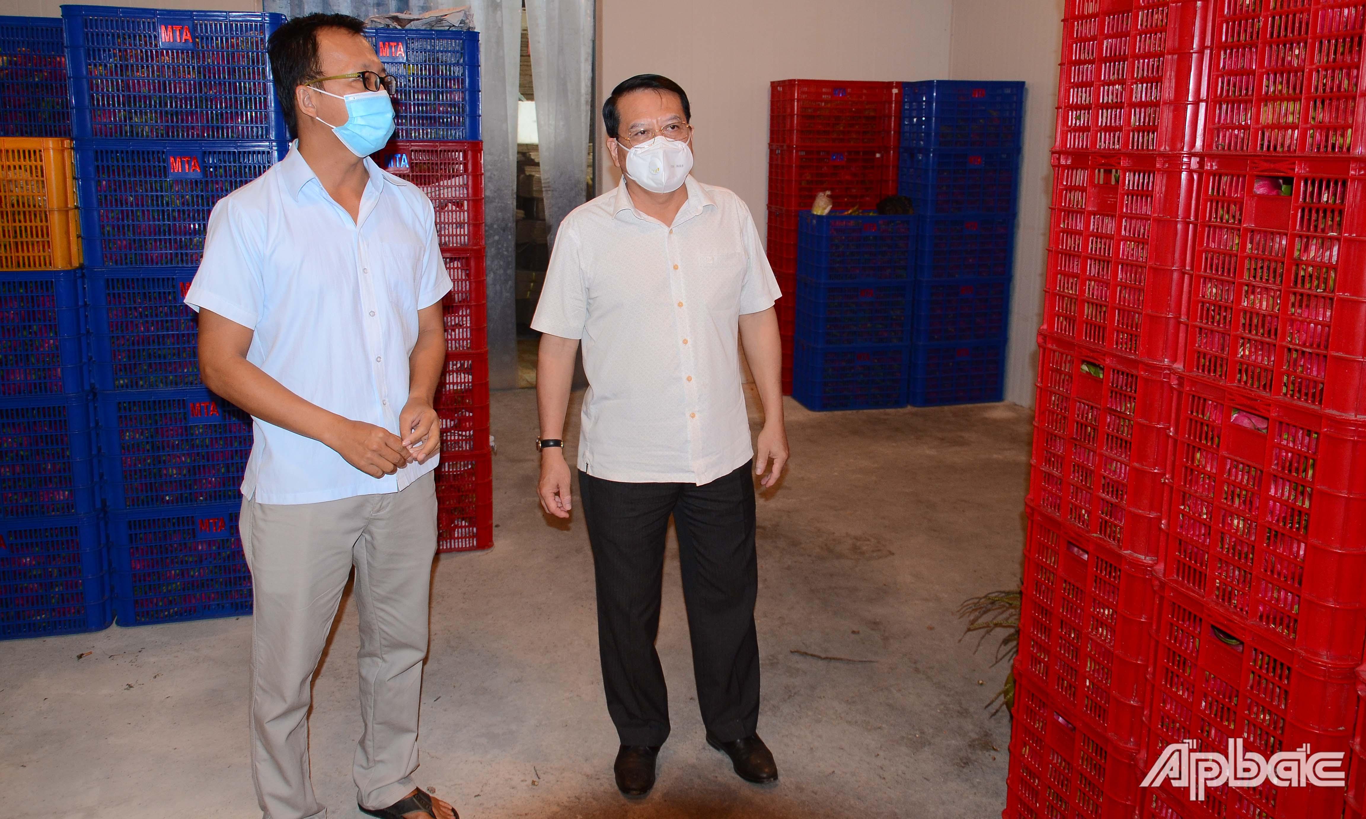 Đồng chí Phạm Văn Trọng thăm, kiểm tra tại HTX Mỹ Tịnh An.